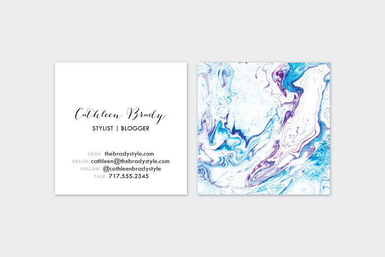 Blue + Maroon Marble Double Sided  Calling Cards | Set (50) Double Sided Calling Cards