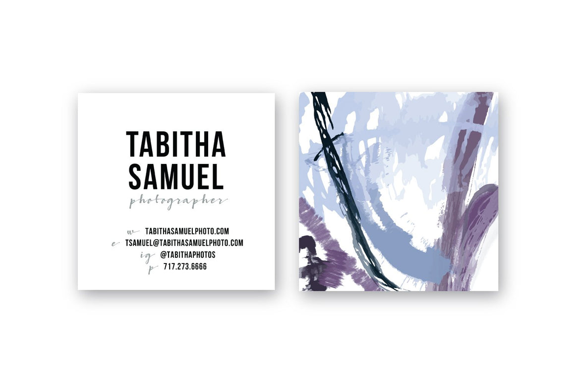 Abstract #15 Calling Cards | Blogger Cards | Periwinkle Plum Indigo