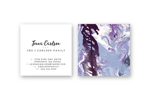Abstract #17 Calling Cards Plum Over Marble