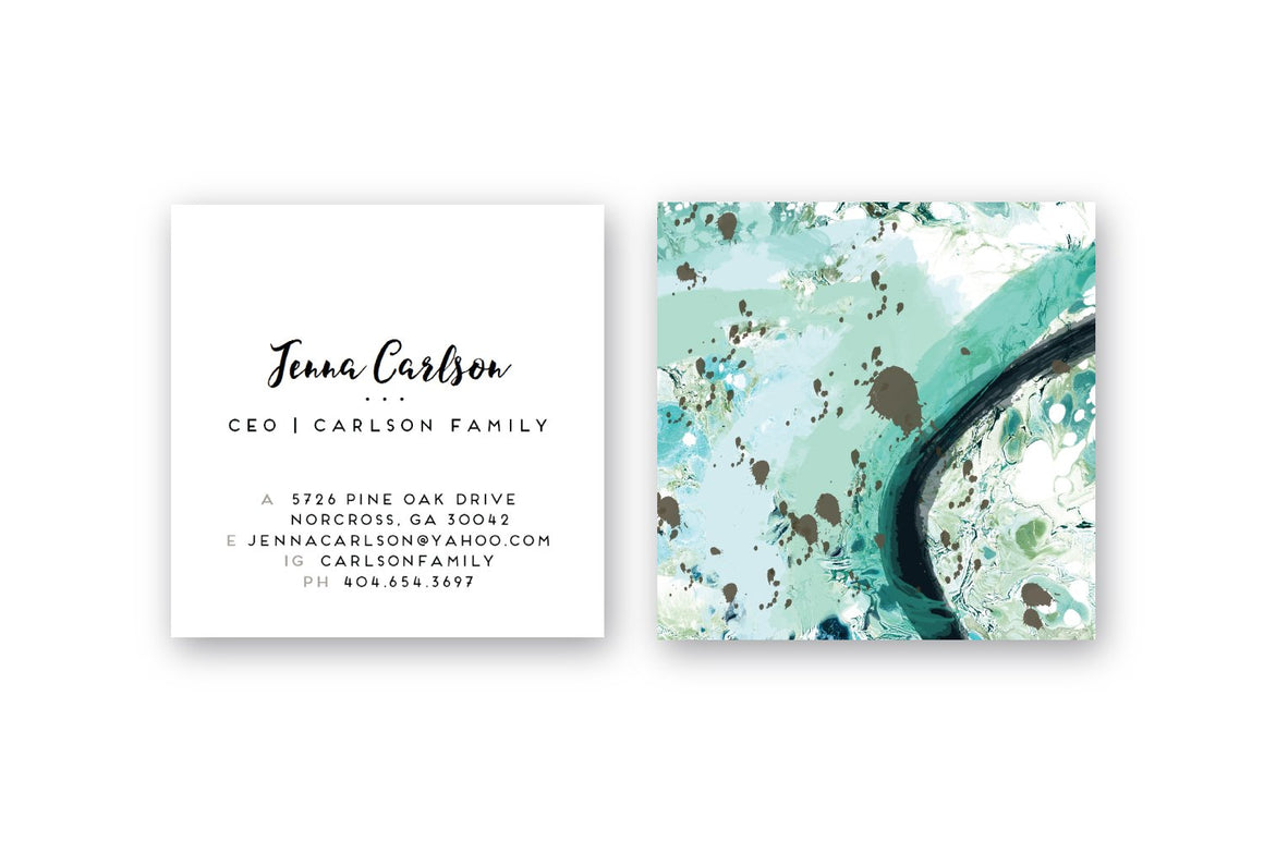 Abstract #4 Calling Cards | Square Business Cards Mint Marble