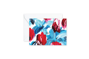 HELLO Floral Blue and Red Notes