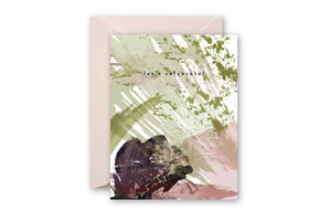 LET'S CELEBRATE Plum Sage Abstract Greeting Card