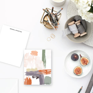 Muted Abstract Purple|Orange Stationery