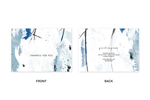 THANKFUL FOR YOU Blue Abstract Notecards