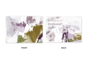 Plum Gold Abstract Notecards