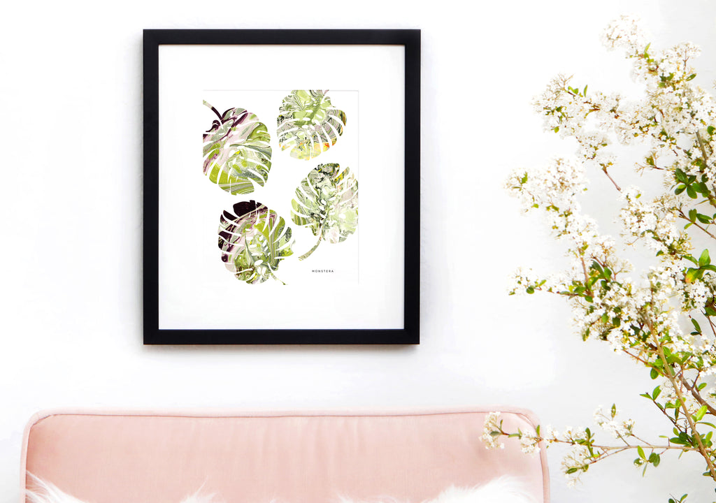 MONSTERA Marble Art Print 8x10