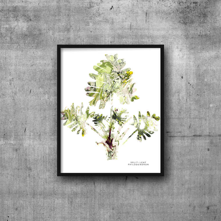 SPLIT LEAF PHILODENDRON Marble Art Print 8x10