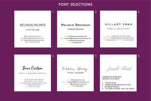Marble Double Sided  Calling Cards | Magenta Purple Violet Chartreuse | Set (50)