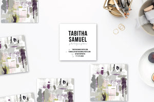 Abstract #29 Calling Cards Plum Greys