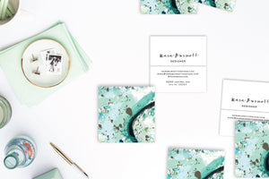 Abstract #4 Calling Cards | Square Business Cards Mint Marble Lifestyle