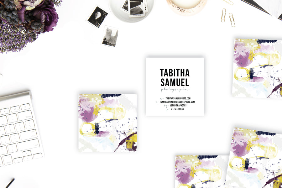 Abstract #30 Calling Cards | Blogger Cards | Square Business Cards Plum Gold