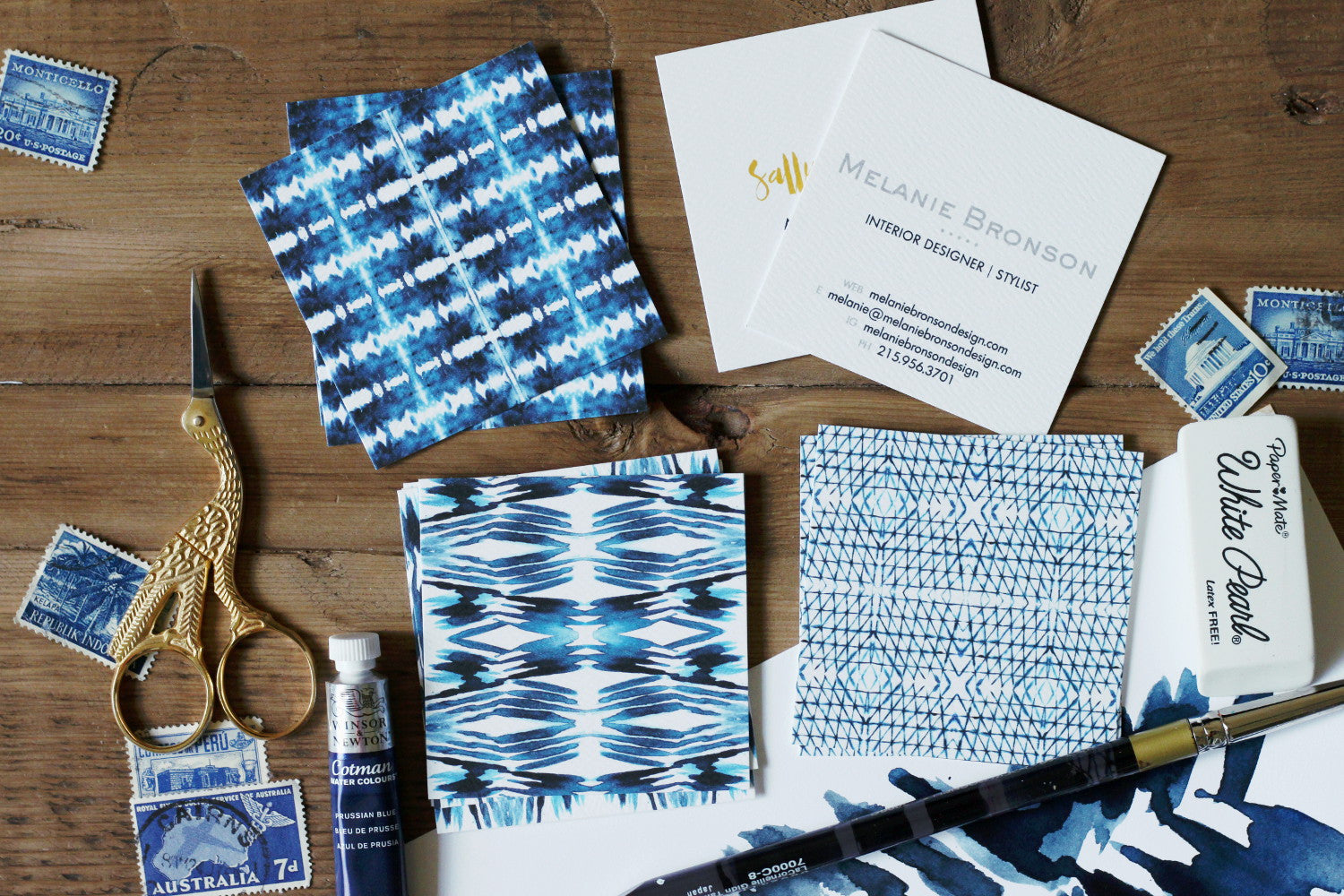 Indigo Shibori Square Business Cards Calling Cards Double Sided