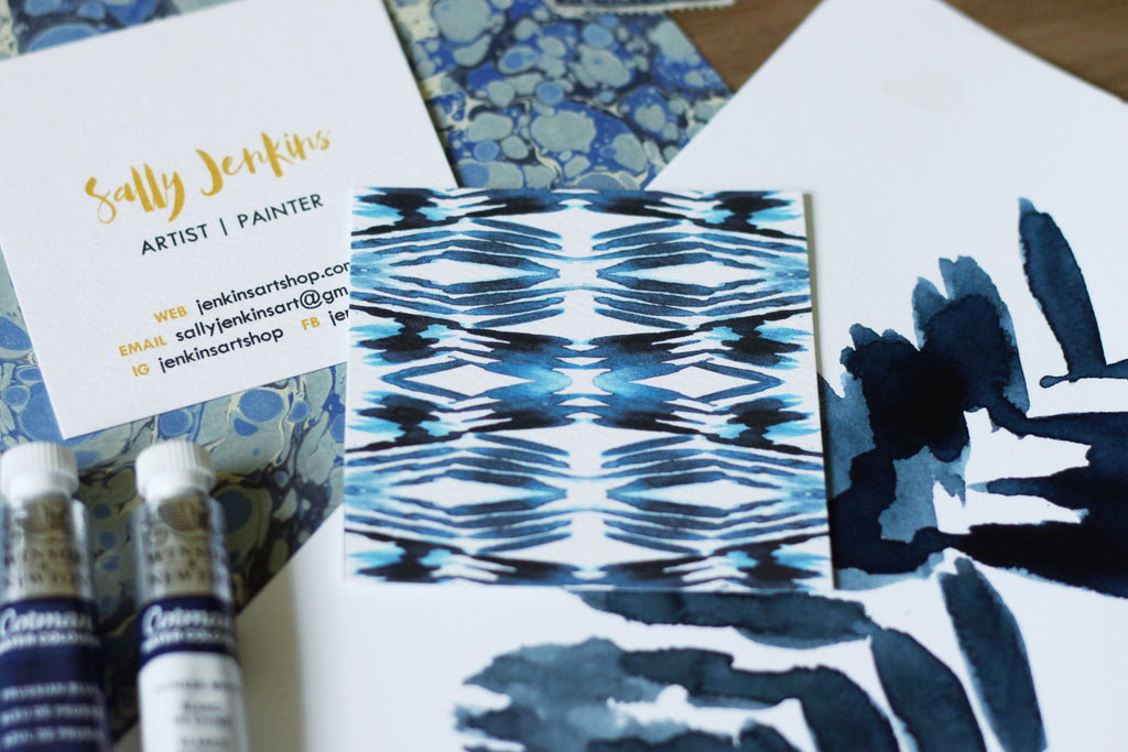 beautiful stylish trendy shibori indigo calling cards by pixelimpress