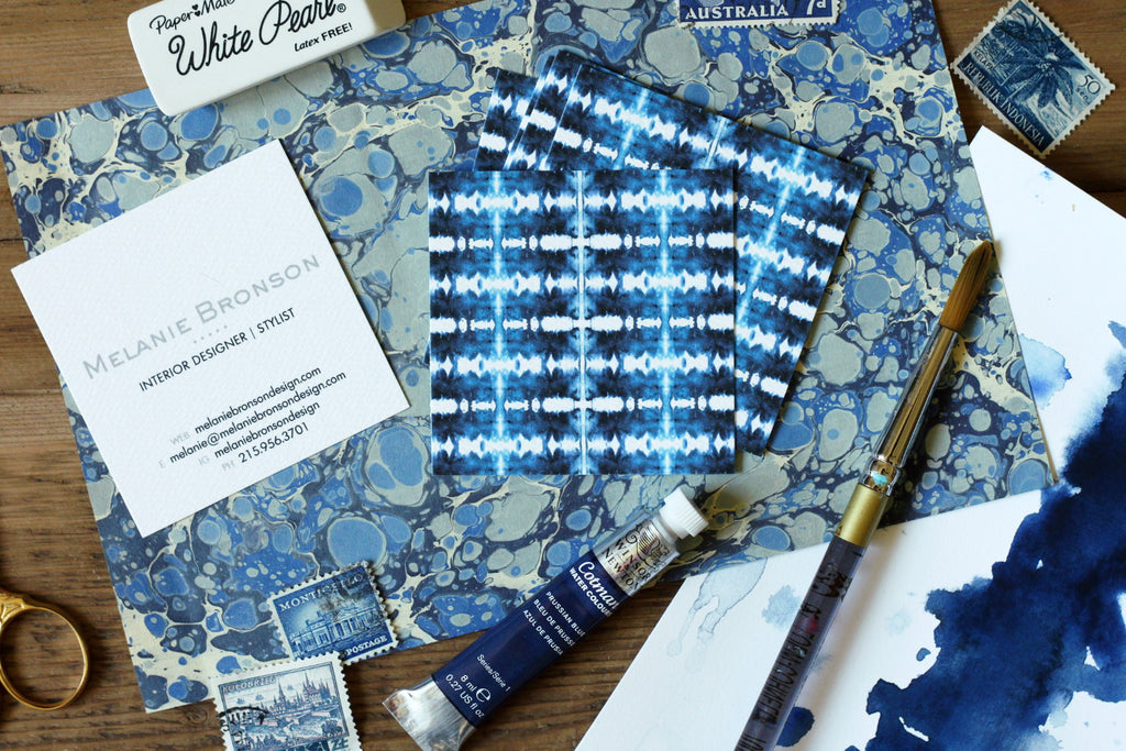 shibori indigo square calling cards bloggers interior designers by pixelimpress