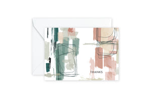 Sage Coral Abstract Notecards