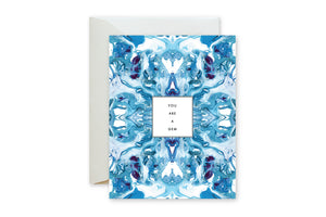 YOU ARE A GEM Blue Purple Tiled Marble Card