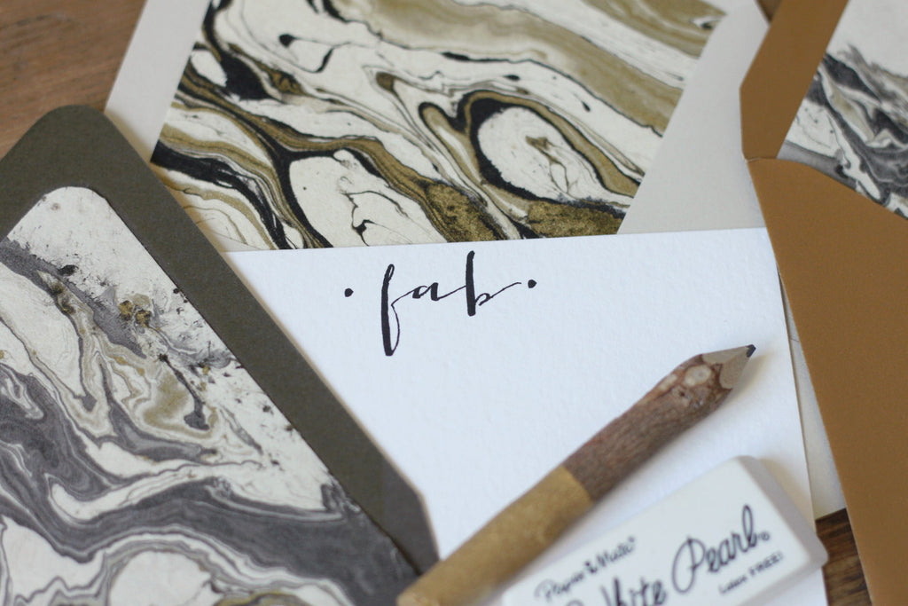 Gold Black Cream Marble Luxe Stationery