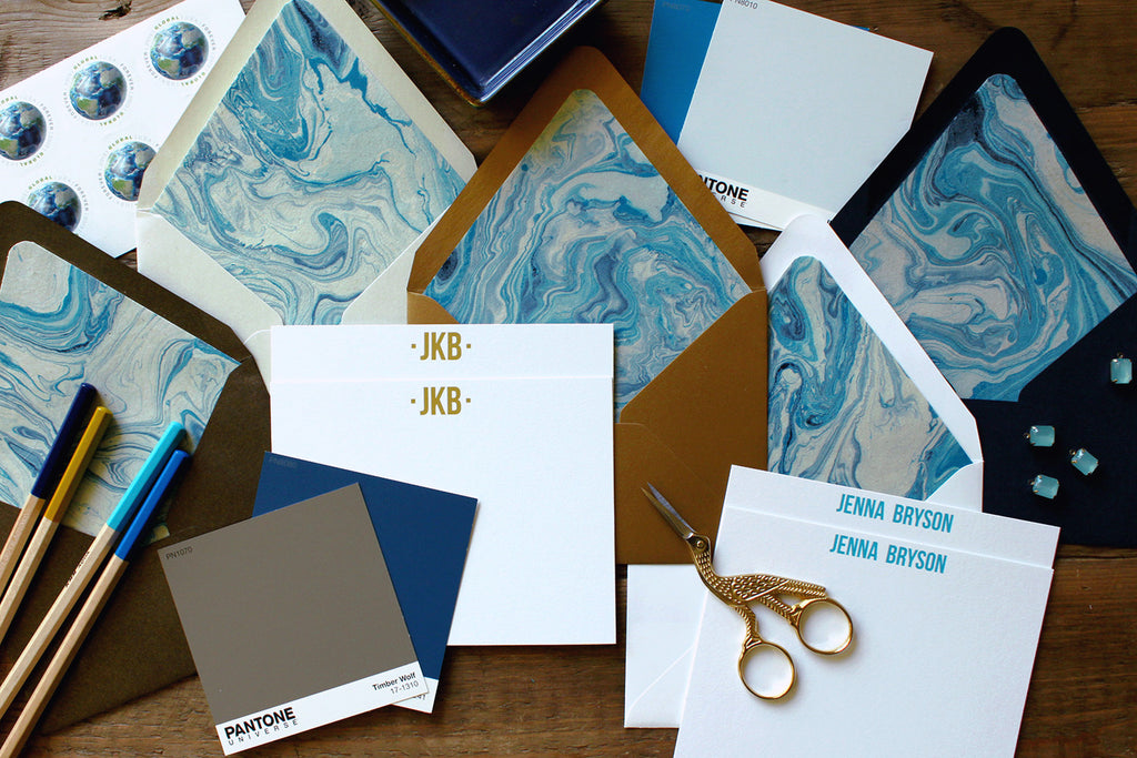 Indigo Marble Luxe Stationery
