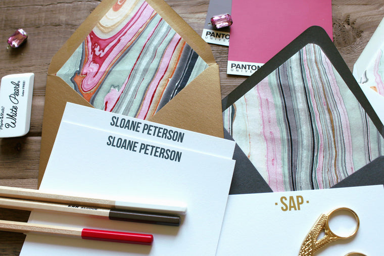 Pink/Black Marble Luxe Stationery