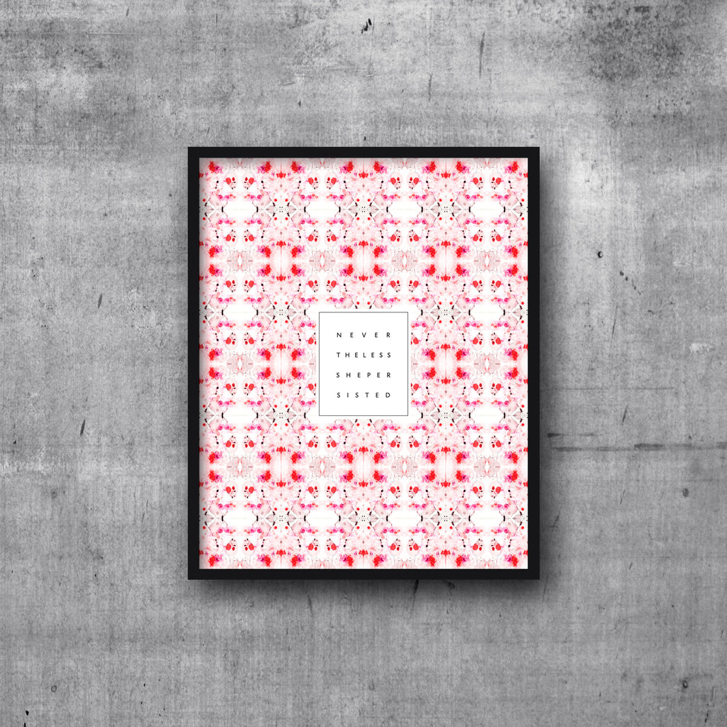 Art Print 8x10 NEVERTHELESS SHE PERSISTED Peach Coral Tiled Marble