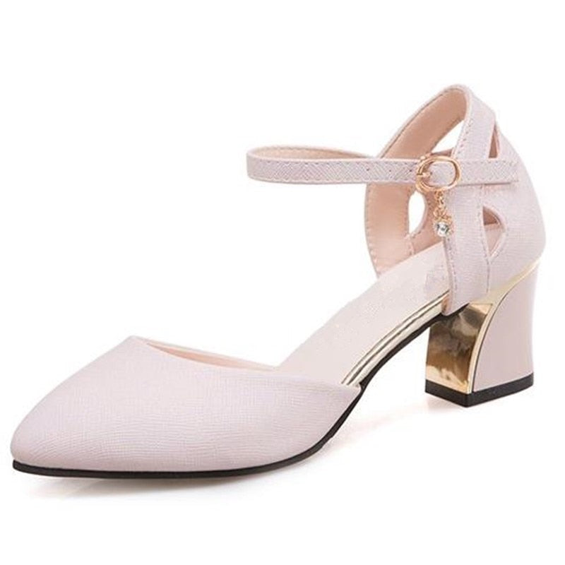 2019 spring new pointed shoes with a single shoe buckle female shoes with high heels female mujer Female sandals high heels x19