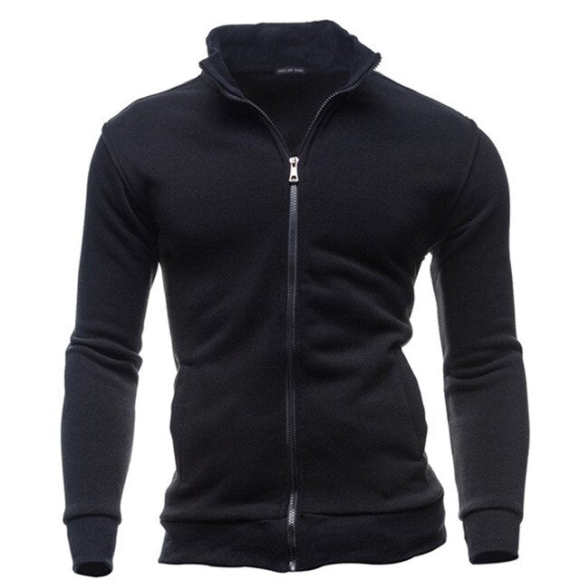 2019 Men Coat Brand Clothing Fashion Zip Stand Collar Man Casual Slim Hoody Sweatshirt Cardigan Zipper Hood Clothing