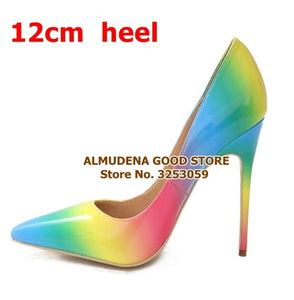 ALMUDENA New Spring Summer Rainbow Gradient Color Pointed Toe Pumps Stiletto Heels 12cm Multi-color Patent Leather Wedding Shoes