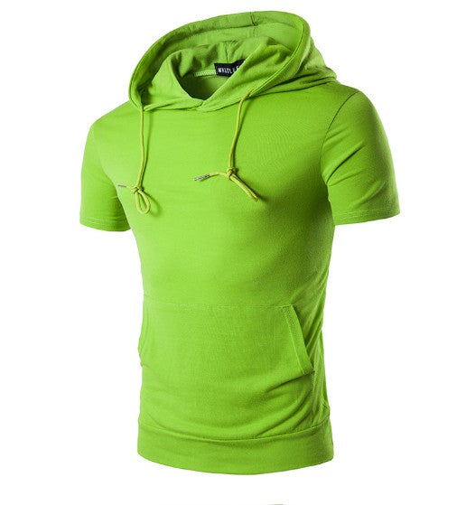 ZOGAA Summer 2019 Mens Hooded Big Pocket Short Sleeve Hoodies for Male Solid Color High Street Hip-Hop Sweatershirt Men Clothing