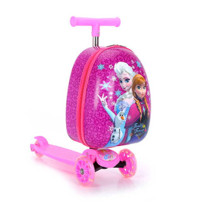 "15"" Sophia Minnie With Wheels Travel Bag Cartoon Children Scooter Draw-bar Box Two-in-one Collapsible Scooter X4552"