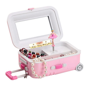 Kuulee Draw-Bar Suitcase Music Box Girl's Musical Jewelry Storage Box With Spinning Dancing Little Cartoon Girl Birthday Present