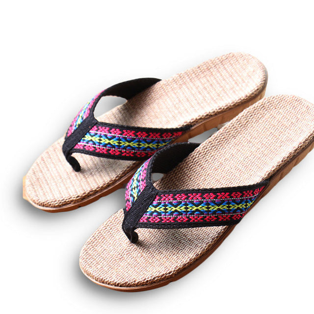 New Summer Linen Women Slippers Ethnic Lattice Fabric Eva Flat Non-Slip Flax Flip Flop Home Slides Lady Sandals Straw Beach shoe