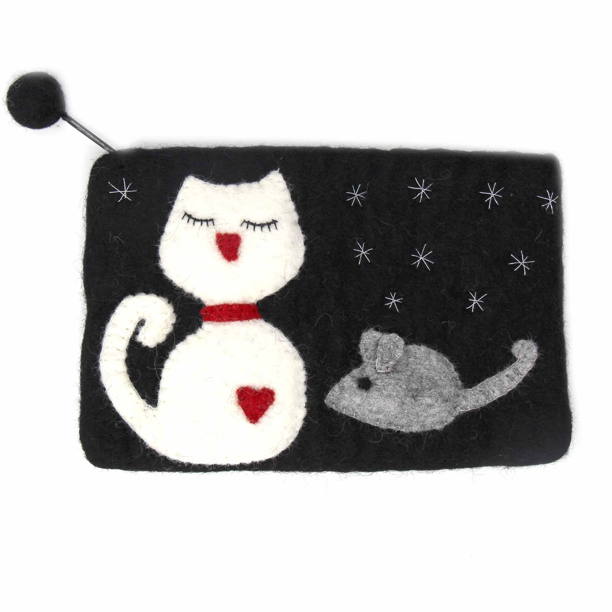 Hand Crafted Felt: White Cat Pouch