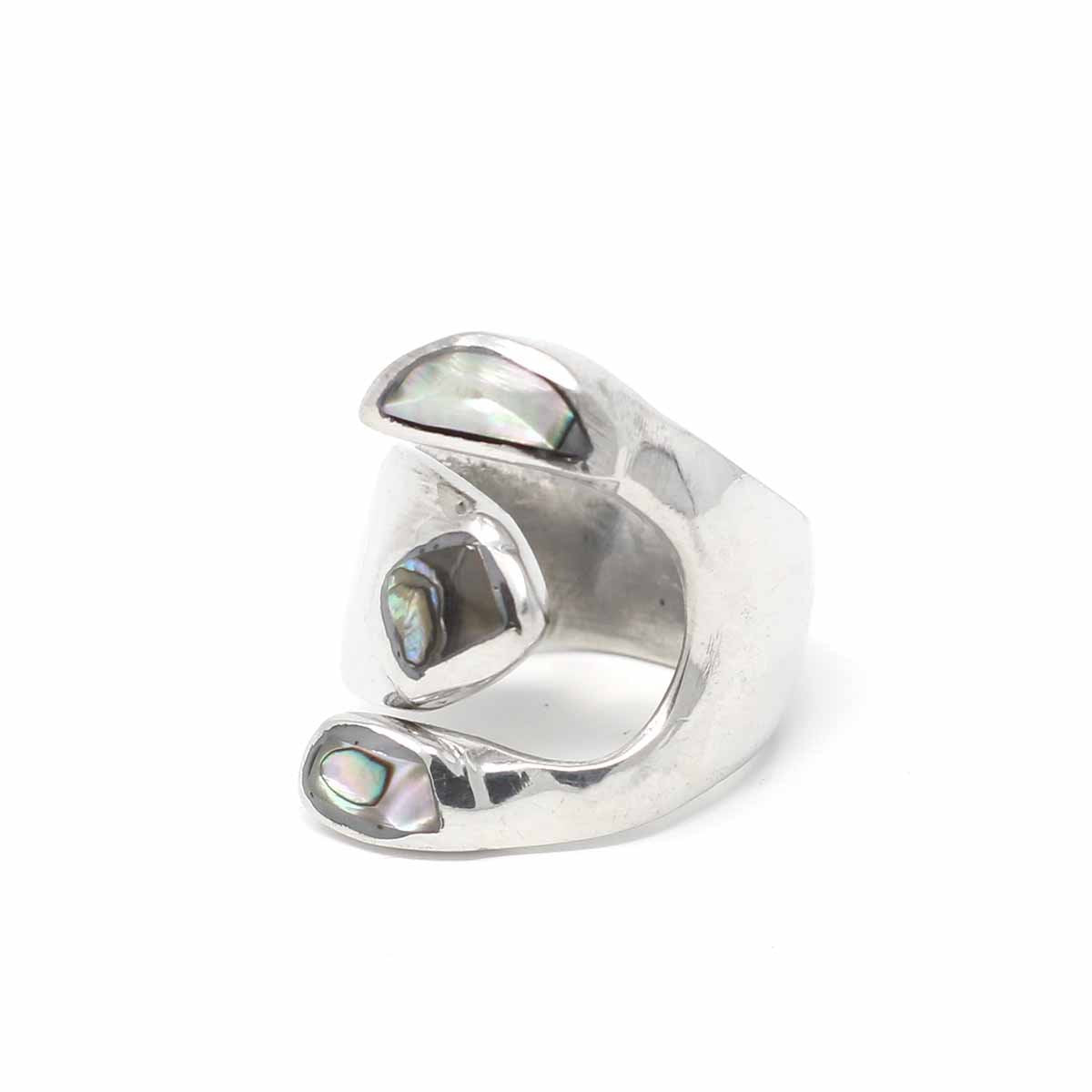 Alpaca Silver Wrap Ring, Abalone - Size 6