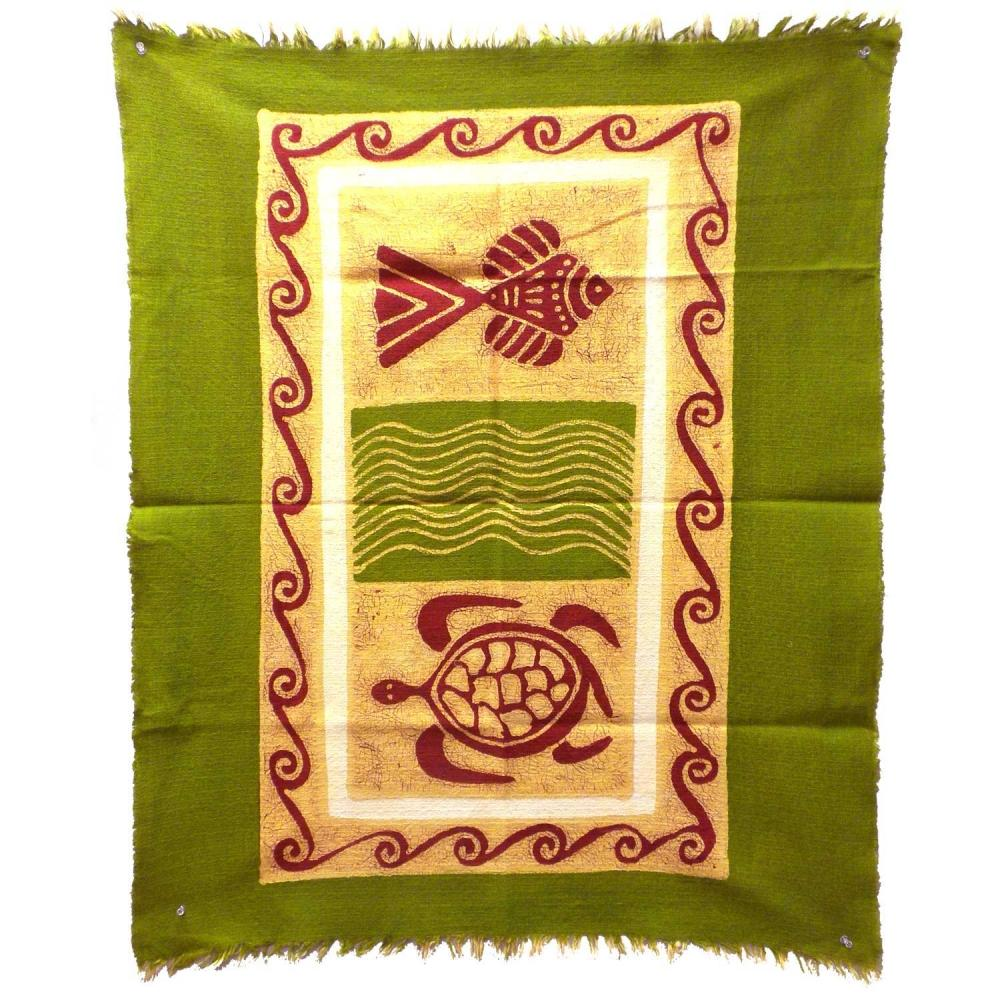 Sea Life Batik in Green/Yellow/Red - Tonga Textiles