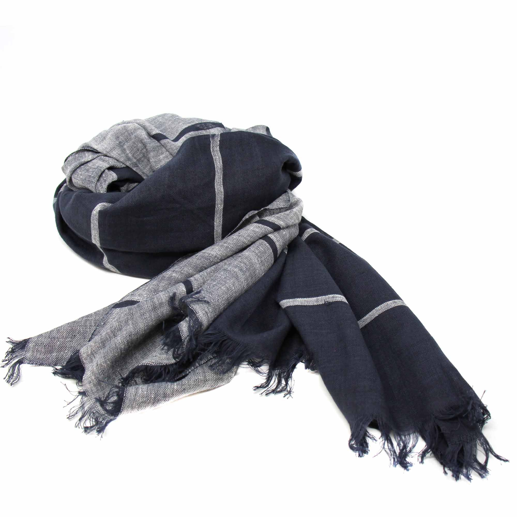 Hand-printed Cotton Scarf, Black & Gray Stripes with Fringe