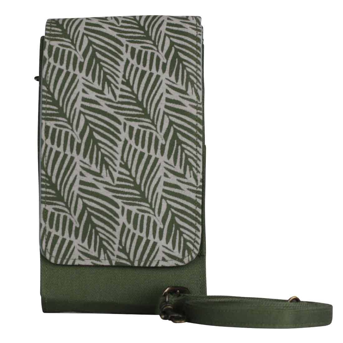 Sustainable Screen Print Phone Case Wallet-Green Blush Leaves (IS)