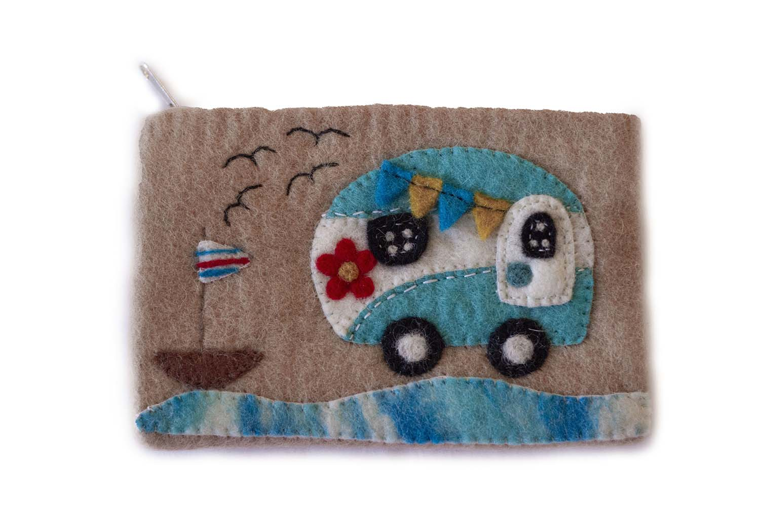 Hand Crafted Felt: Camper Van Pouch