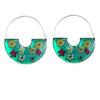 Green Pressed Flowers Basket Hoop Earrings