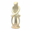 Natural 8-inch Tall Soapstone Family Sculpture - 1 Parent 2 Children - Smolart