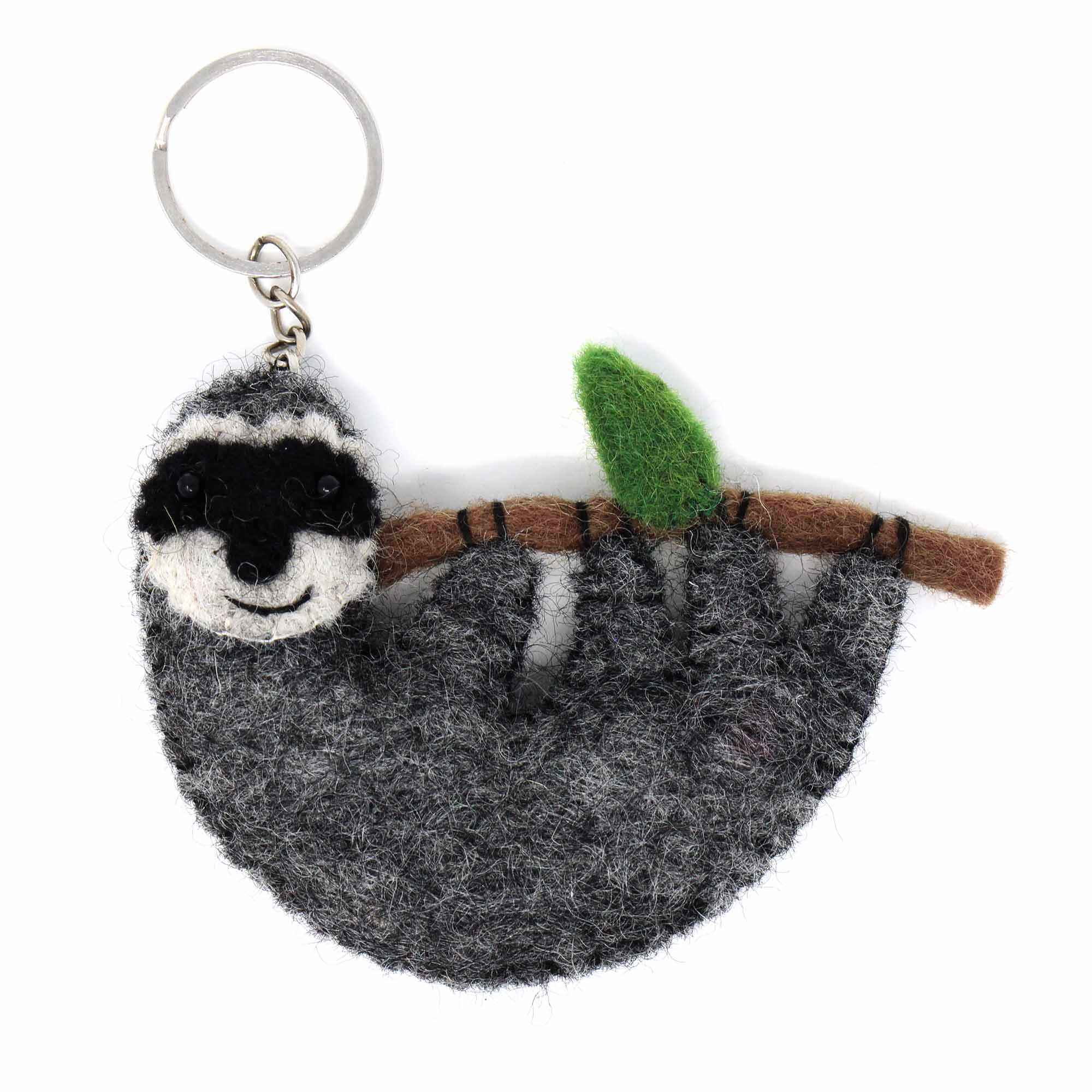 Hand Crafted Felt from Nepal: Key Chain, Sloth - Global Groove (A)
