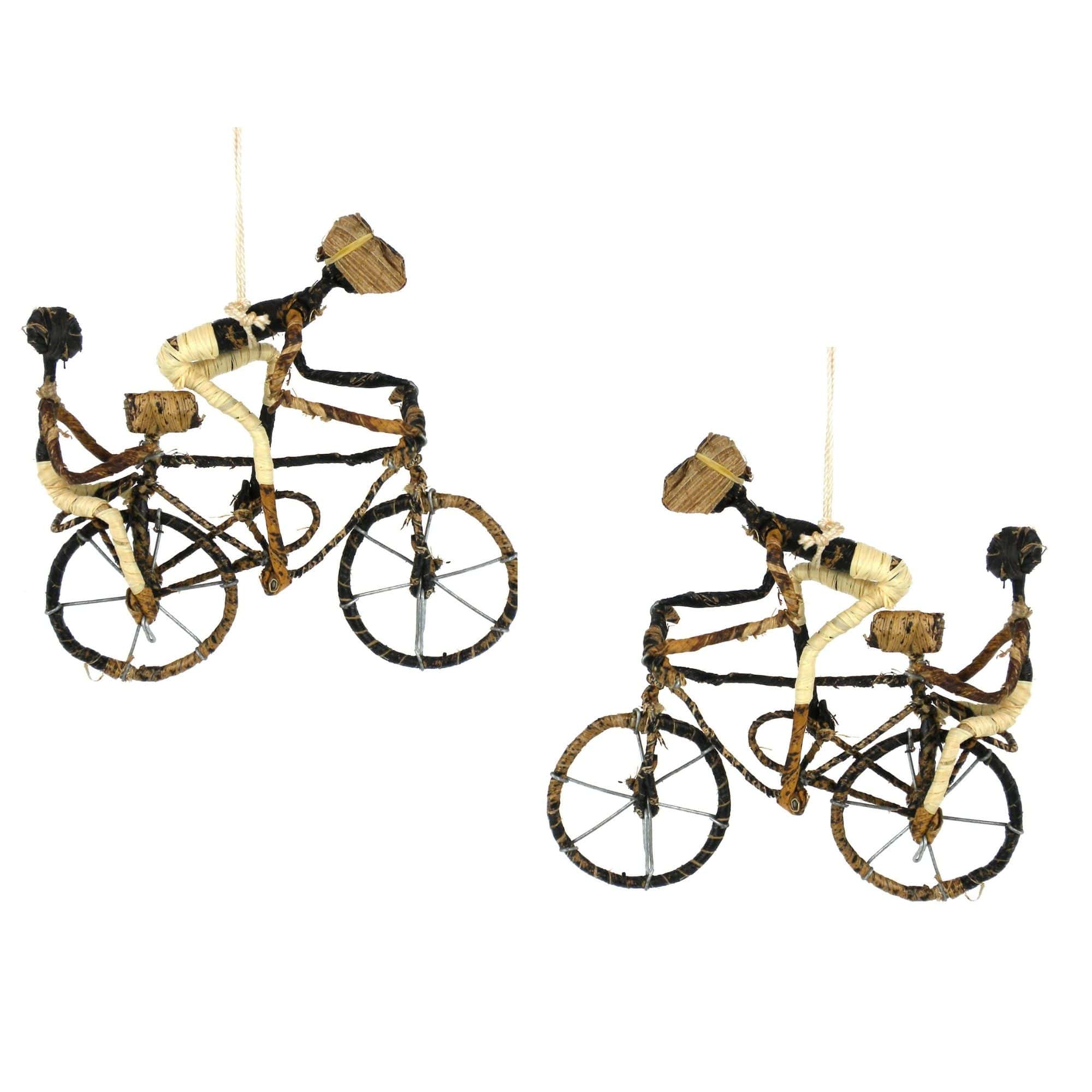 Banana Fiber Bicycle Ornament, Two Riders - Set of 2 Ornaments