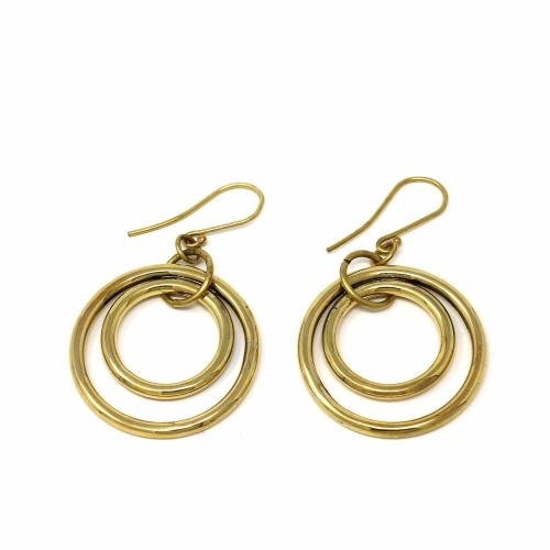 Earrings: Brass Nested Circles