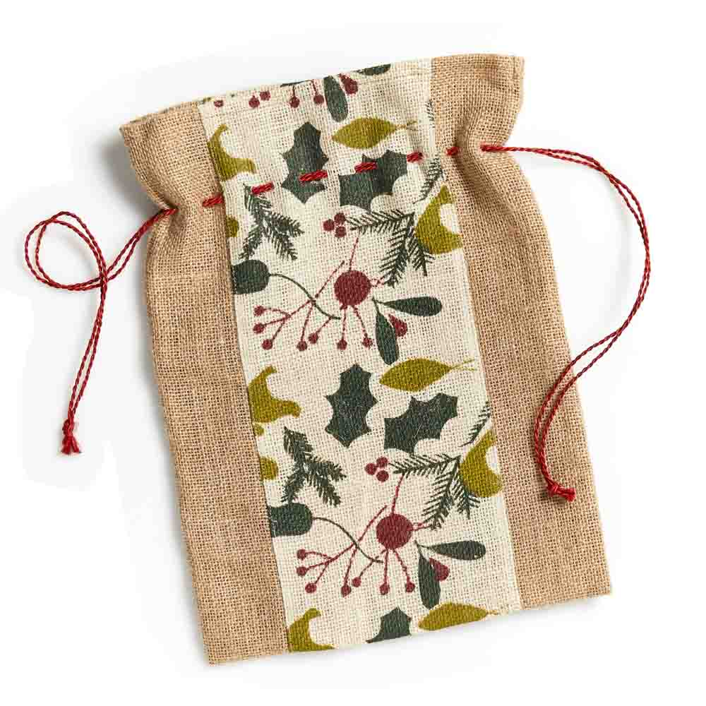 Gift Bag Holly Leaf Burlap (IS)