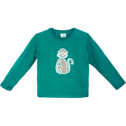 ORGANIC LONG SLEEVE T-SHIRT-MONKEY-GREEN (IS)