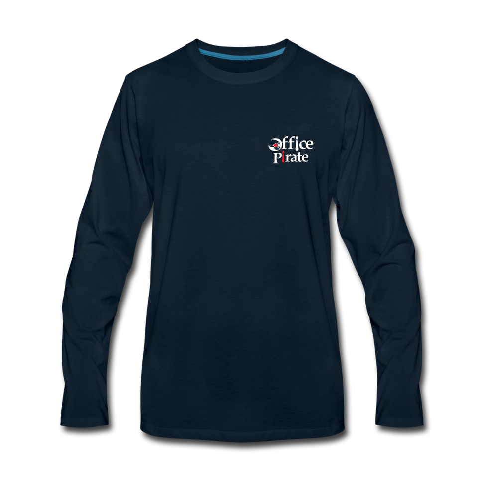Men's Premium Office Pirate Long Sleeve T-Shirt - deep navy