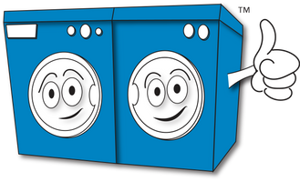 Cartoon washer and dryer with a big thumb's up. The image is a pleasant blue color and is trademarked.