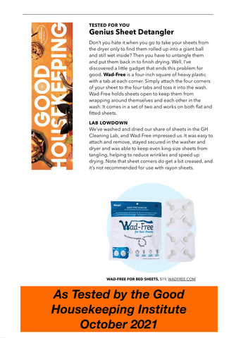 Wad-Free tested by the Good Housekeeping Institute as seen in October 2021 issue