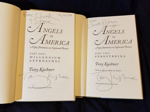 Angels in America Parts one and two (two volumes) by Tony Kushner Both inscribed by Kushner