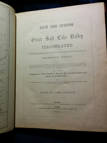 Piercy, Frederick Hawkins. Route from Liverpool to Great Salt Lake Valley - the original 1855 published copy.
