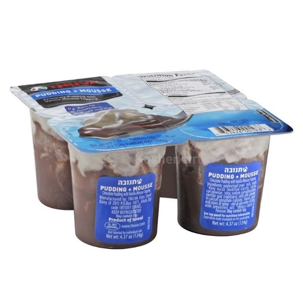 Tnuva Chocolate Pudding with Vanilla Mousse Topping 4-Pack
